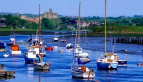 Sailing boats in the River Coquet at Warkworth