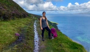 Katia from the Absolute Escapes team walking to Foilmore
