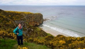 Katia from Absolute Escapes walking from Findhorn to Lossiemouth