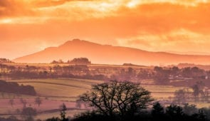Sunset over Nisbet on the Borders Abbey Way