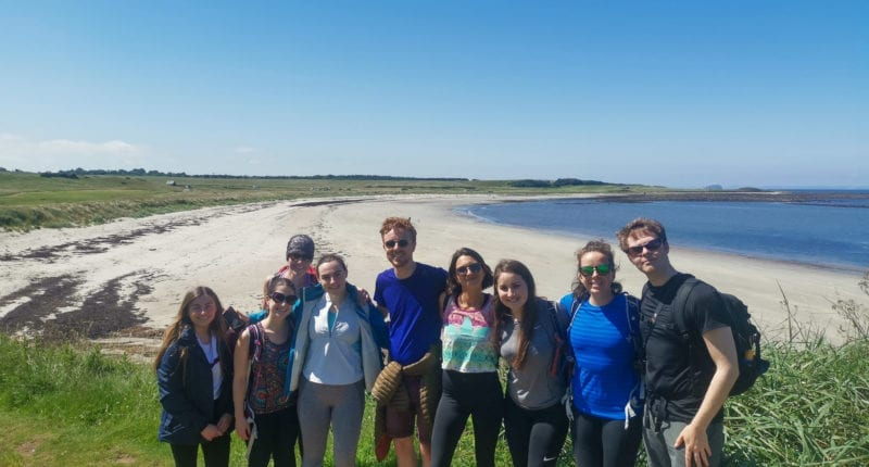 The Absolute Escapes team walking the Berwickshire Coastal Path