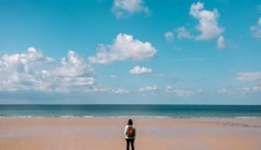 Beautiful white sandy beach on Jersey