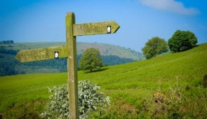 Waymarker and scenery on Offa's Dyke Path