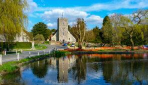 Burriton Church and pond