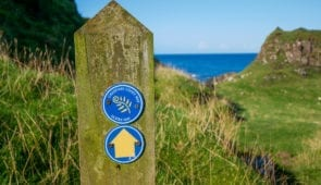 Waymarker on the Causeway Coast Way
