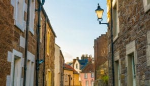 Alleyway with colourful cottages in St Monans