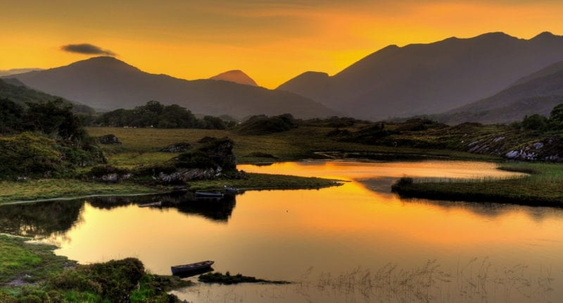 Sunset over the Lakes of Killarney