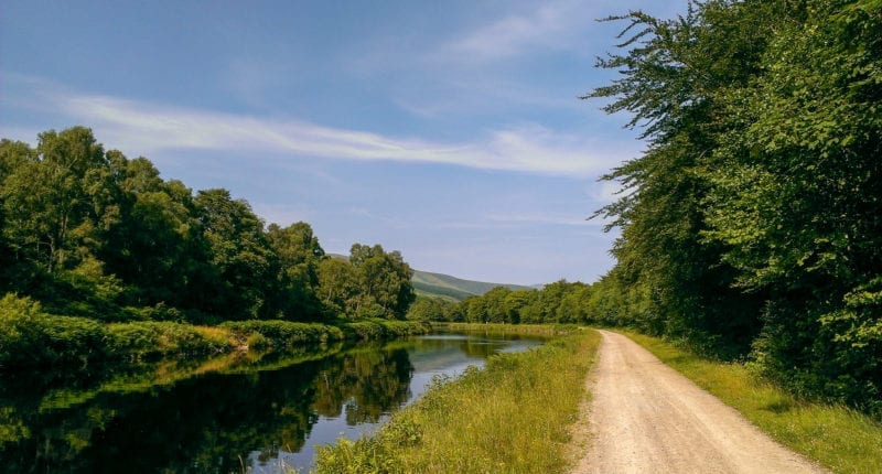Canalside path on the Great Glen Way