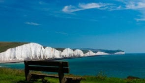 Hope Gape, looking along the coastline of the Seven Sisters white chalk cliffs
