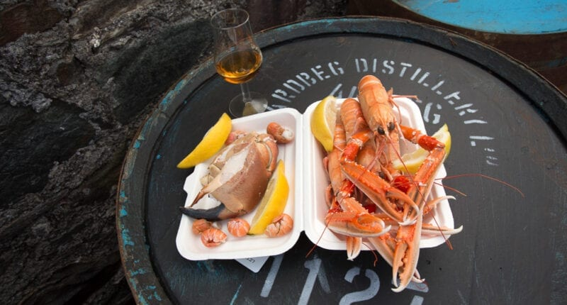 Seafood and whisky at Ardbeg Distillery