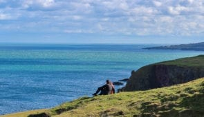 Taking in the view on the Berwickshire Coastal Path