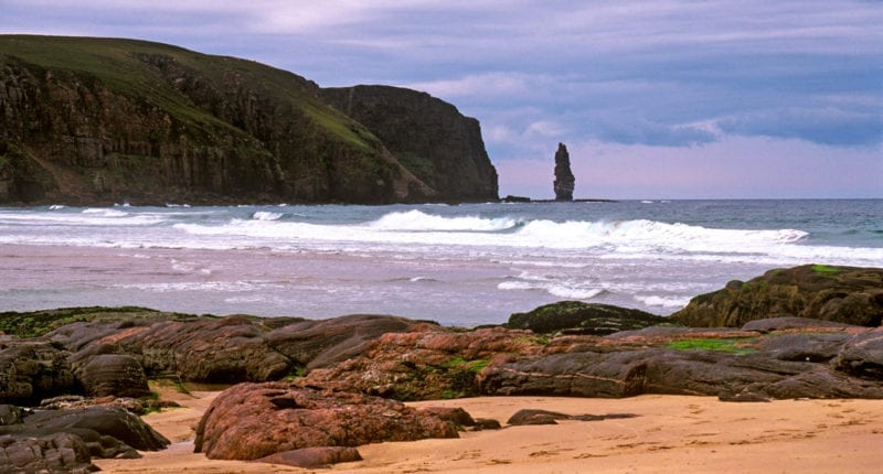 Sandwood Bay and the Sea Stack of Am Buachaille