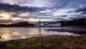Sunset over Lagavulin Distillery, Islay