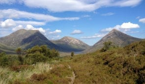 The Red Cuillin surrounding Strath Mor on the Skye Trail