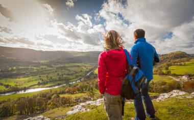 Walkers on Offa's Dyke Path overlooking Vale of Llangollen