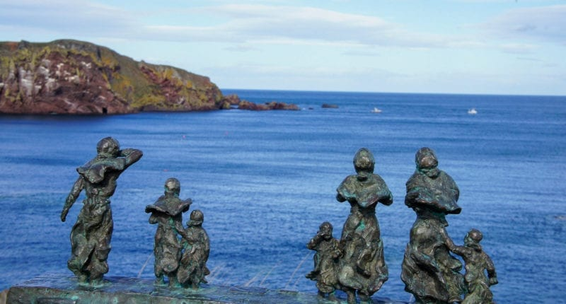 'Widows and Bairns' statue at Eyemouth
