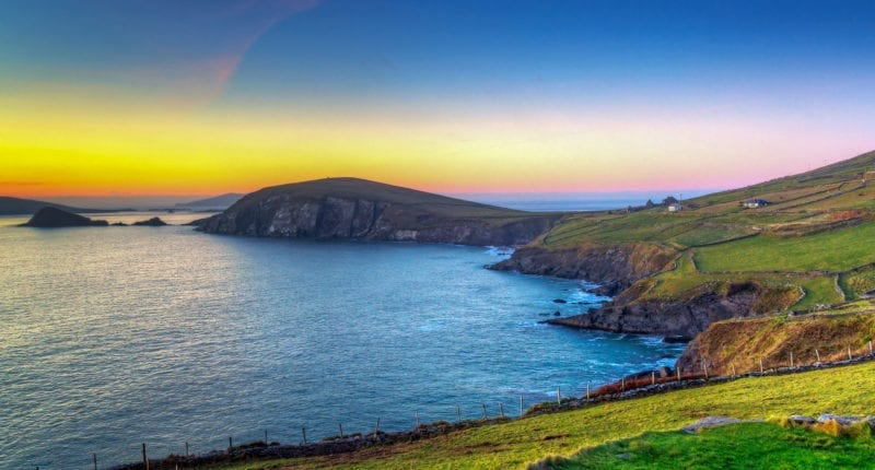 Scenic sunset over the Dingle Peninsula