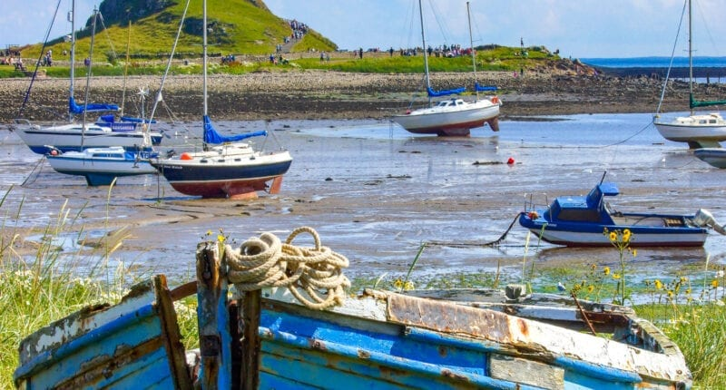 Low tide at Lindisfarne Castle on Holy Island