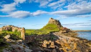 Lindisfarne Castle on the Northumberland coast, England
