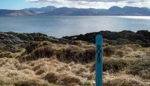 Kintyre Way waymarker and views