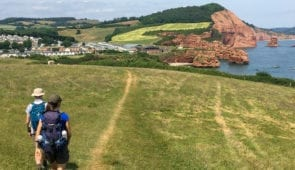 Absolute Escapes clients on the South West Coast Path to Lyme Regis