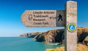 Waymarker on the Pembroke Coast Path