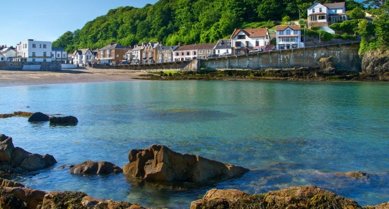 View of the village and harbour of Combe Martin
