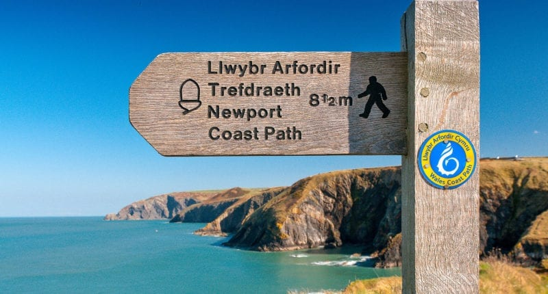 Waymarker on the Pembrokeshire Coast Path