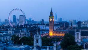 London skyline - Westminster, London Eye, River Thames