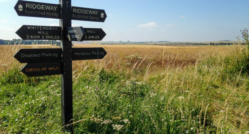 Ridgeway signs at Ashbury Hill where Alfred the Great defeated the Vikings
