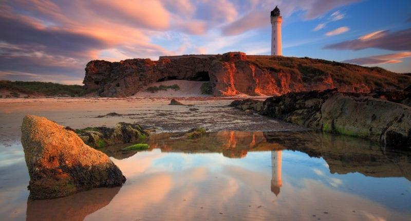 Sunset over Lossiemouth Lighthouse