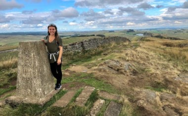 Caitlin from the Absolute Escapes at Caw Gap on the Pennine Way