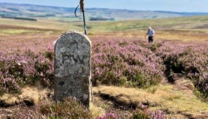 Pennine Way stone at Whitley Pike