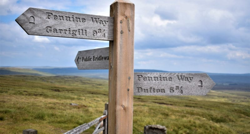Signpost on the Pennine Way
