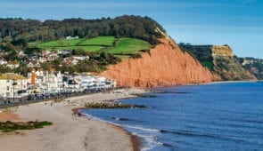 Town and cliffs in Sidmouth