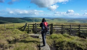 Walker in the Cheviot Hills on the Pennine Way