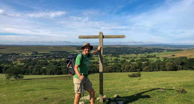 Hiker near Barrowburn Farm