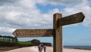 South West Coast Path waymarker to Budleigh Salterton
