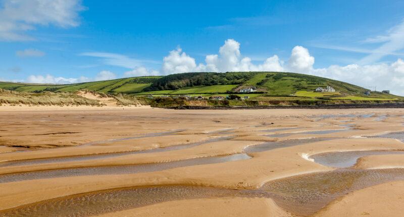 The sandy beach of Croyde in Devon