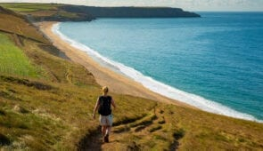 Walking the coastal path above Porthleven Sands