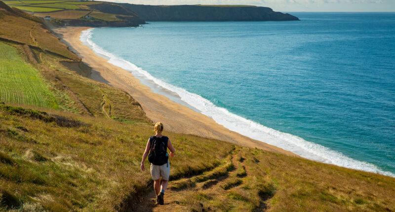 Walking the coastal path above Porthleven Sands