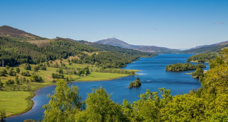 The Queen's View in Highland Perthshire which overlooks Loch Tummel