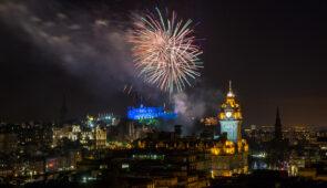 Fireworks from Edinburgh Castle during the Royal Edinburgh Military Tattoo