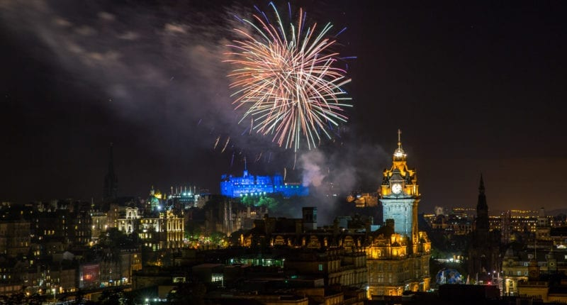 Fireworks from Edinburgh Castle during the Royal Edinburgh Military Tattoo