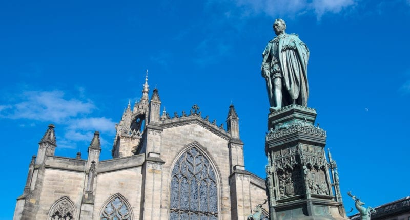 St Giles' Cathedral and Adam Smith statue on the Royal Mile, Edinburgh
