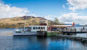 Steamship Sir Walter Scott sails on Loch Katrine