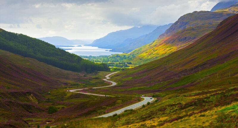 View down Glen Docherty to Loch Maree