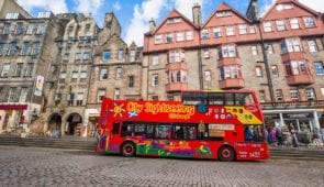 City Sightseeing bus on The Royal Mile in Edinburgh