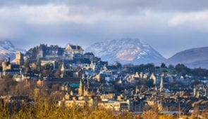 Stirling Castle and the Ochil Hills in winter