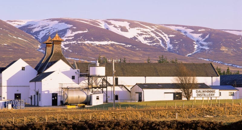Dalwhinnie Distillery in the Highlands